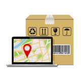 Mock-up for shipping parcel tracking order. Royalty Free Stock Images