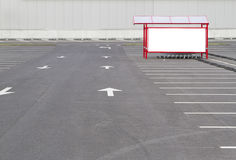 Mock up. Shoping trolley bay in a parking lot near supermarket Royalty Free Stock Images