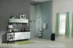 Bath in the gray. A mock up of small gray bathroom in studio royalty free stock images