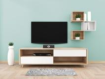 Smart Tv with blank black screen hanging on cabinet design, modern living room with floor. 3d rendering. Mock up Smart Tv with blank black screen hanging on vector illustration
