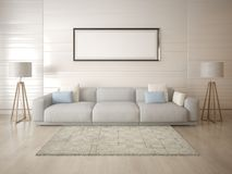 Mock up a spacious living room on a light background. Mock up a spacious living room on a light background with a comfortable sofa Stock Image