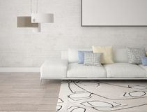 Mock up a spacious living room with a light sofa. Mock up a spacious living room with a light sofa and hipster background Royalty Free Stock Photography