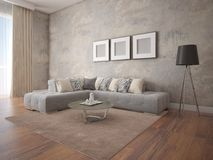 Mock up a spacious living room with a stylish corner sofa. Royalty Free Stock Photos
