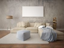 Mock up a stylish living room with a light beige sofa. Mock up a stylish living room with a light beige sofa on the hipster background Royalty Free Stock Image