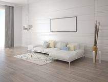 Mock up a stylish living room with a light corner sofa. Mock up a stylish living room with a light corner sofa and a fashionable background Stock Photos
