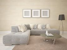 Mock up a stylish living room with a light corner sofa. Mock up a stylish living room with a light corner sofa and a fashionable background Royalty Free Stock Photography