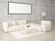 Mock up in a stylish living room with a light corner sofa. Mock up in a stylish living room with a light corner sofa on the hipster background Stock Photos