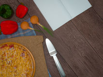Mock up template pizza on a wooden table. Royalty Free Stock Photo
