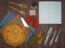 Mock up template pizza on a wooden table. Stock Photography