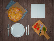 Mock up template pizza on a wooden table. Stock Images