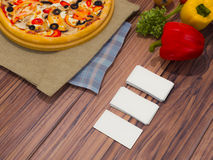Mock up template pizza on a wooden table. Royalty Free Stock Photography