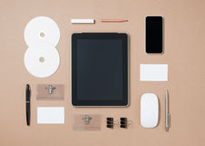 Mock up template of stationary and electronic tools in every day Stock Photography