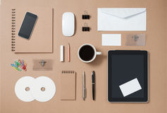 Mock up template of stationary and electronic tools in every day Royalty Free Stock Images