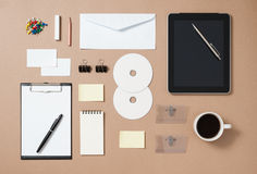 Mock up template of stationary and electronic tools in every day Royalty Free Stock Image