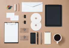 Mock up template of stationary and electronic tools in every day Royalty Free Stock Photography