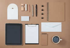 Mock up template of stationary and electronic tools in every day Royalty Free Stock Photo