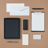 Mock up template of stationary and electronic tools in every day Stock Photo