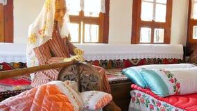 Mock up of traditional turkish village life, safranbolu, turkey stock video footage