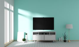 Mock up Tv on cabinet design in room interior granite tile floor on mint wall ,minimal designs zen style, 3d rendering. Tv on cabinet design in room interior vector illustration