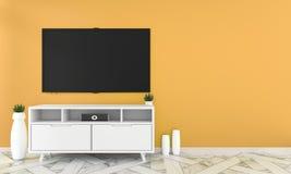 Mock up Tv on cabinet design in room interior granite tile floor on orange wall ,minimal designs zen style, 3d rendering. Tv on cabinet design in room interior royalty free illustration