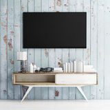 Mock up tv on wooden wall, 3d illustration Royalty Free Stock Image
