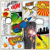 Mock-up of a typical comic book page. Vector Comics Pop art Superhero concept blank layout template with clouds beams Royalty Free Stock Photography