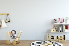 Mock up wall in child room interior. Interior scandinavian style. 3d rendering, 3d illustration Royalty Free Stock Photo