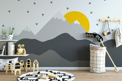 Mock up wall in child room interior. Interior scandinavian style. 3d rendering, 3d illustration Royalty Free Stock Images