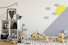 Mock up wall in child room interior. Interior scandinavian style. 3d rendering, 3d illustration Stock Image