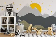 Mock up wall in child room interior. Interior scandinavian style. 3d rendering, 3d illustration Royalty Free Stock Photos