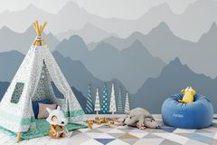 Mock up wall in child room interior. Interior scandinavian style. 3d rendering, 3d illustration Royalty Free Stock Image
