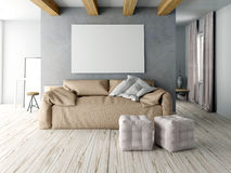 Mock up wall in interior with  sofa. living room hipster style. 3d illustration Royalty Free Stock Images