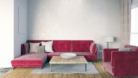Mock up wall in interior with sofa. living room modern style. Mock up wall in interior with  sofa. living room modern style. 3d illustration Royalty Free Stock Photo