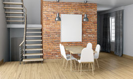Mock up wall in interior with stairs and dining area. living roo Royalty Free Stock Photo