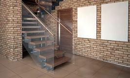 Mock up wall in interior with stairs. living room hipster style. Stock Images