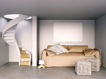 Mock up wall in interior with stairs and sofa. living room hipst Stock Images
