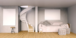 Mock up wall in interior with stairs and sofa. living room hipst Royalty Free Stock Photo