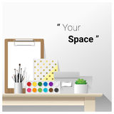Mock up wall scene with school supplies. Vector , illustration Royalty Free Stock Images