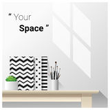 Mock up wall scene with school supplies. Vector , illustration Royalty Free Stock Photos
