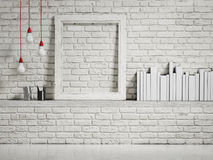 Mock up white frame on white brick wall. 3d illustration Royalty Free Stock Images