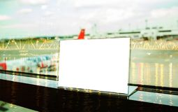Free Mock Up White Label On Table For Blank Menu Frame In Restaurant Royalty Free Stock Image - 105866726