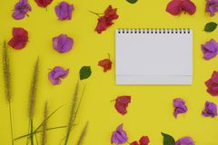 Mock-up white paper with space for text or picture on yellow background and tropical flowers stock image