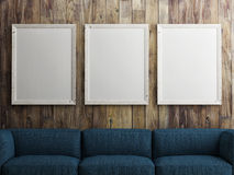 Mock up white poster on wooden wall, 3d illustration Stock Images