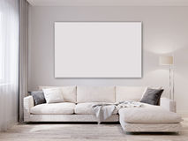 Mock up white wall  modern living room interior Royalty Free Stock Photography