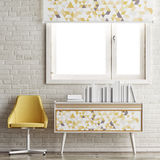 Mock up window, books and chair on white brick wall, Stock Image
