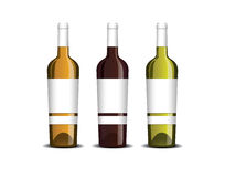 Mock-up of the wine bottle with label. For white, pink and red wine Stock Photo