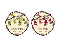 Mock-up of the wine bottle with label. For white, red and pink wine Royalty Free Stock Images