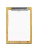 Mock up wooden clipboard with blank paper isolated on white background Stock Photos
