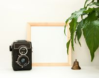 Mock up wooden frame, old camera, plant and copper bell. Interior home square poster mockup with wood frame and green leaves. royalty free stock photos