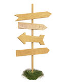 Mock up wooden signpost isolated on white background Stock Photos